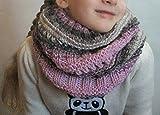 Kinderschal Schalkragen Grau Rosa