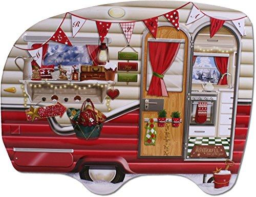 Caja de metal para galletas, diseño de caravana, color rojo, 27 cm