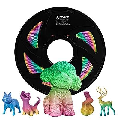 PLA Filament 1.75mm 3D Printer Rainbow Filament Multicolor PLA Filament for 3D Printers1kg Spool XVICO