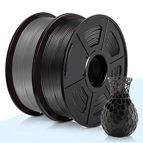 PLA Filamento Negro & Gris,3D Warhorse Pla Filamento de Impresion 3D,3D Printer Filament 1.75mm,Dimensional Accuracy +/- 0.02 mm,Polylactic Acid Material,1.75mm Black & Grey PLA,2KG(Spool)
