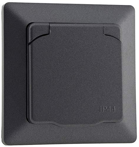 MILOS Steckdose IP44 Unterputz Aussen-Steckdose mit Schutzklappe 230V Schutzkontakt-Steckdose Für Feuchträume Badezimmer Aussenbereich Anthrazit