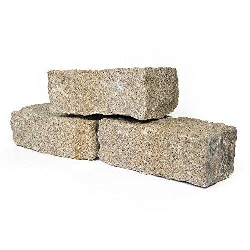 Granit Mauersteine 40 x 20 x 15cm in Gelb 1000kg Holzkiste Big Bag