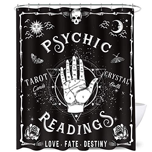 Homewelle Gothic Palmistry Shower Curtain Reading Hands 72Wx72L Inch Spooky Cool Cute Psychic Palm Aesthetic Hippy Mysterious Tarot Whimsy 12 Pack Hooks Polyester Fabric Bathroom Bathtub