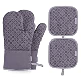 BESTONZON 4PCS Heat Resistant Oven Mitts and Pot Holders, Soft Cotton Lining with Non-Slip Surface for Safe...