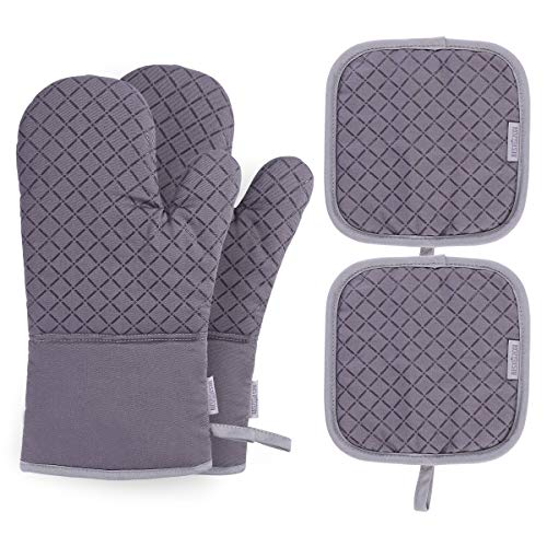 BESTONZON 4PCS Heat Resistant Oven Mitts and Pot Holders, Soft Cotton Lining