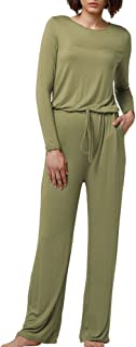 Dreamskull Womens Casual Jumpsuits Scoop Wide Legs Long Sleeve Romers Jumpsuit with Pockets
