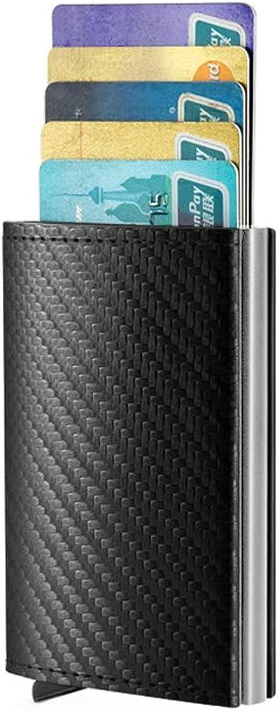 Credit Card Holder for Men Wallet Slim RFID Fiber Money Clip Wallet Metal Leather Material with Money Pocket (Carbon Leather)