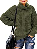 OHDREAM Womens Plus Size Turtleneck Sweater Cowl Neck Chunky Knit Batwing Long Sleeve Winter Pullover Sweaters Jumper (Army Green, XXXXX-Large)