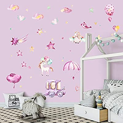 Supzone Unicorn Wall Stickers Dreamy Girls Room Wall Decals Vinyl Removable Baby Nursery Bedroom Kids Living Room Wall Decor