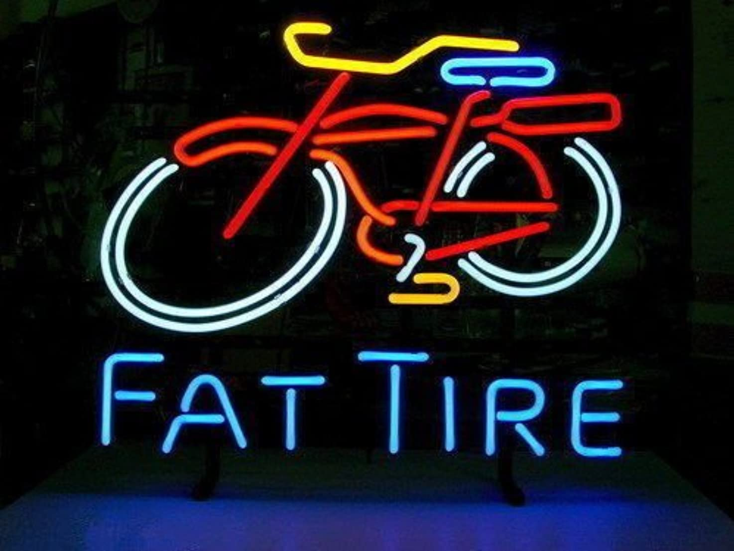 Urby™ Fat Tire Real Glass Neon Light Sign Home Beer Bar Pub Recreation Room Game Room Windows Garage Wall Sign 18''x14'' A14-03