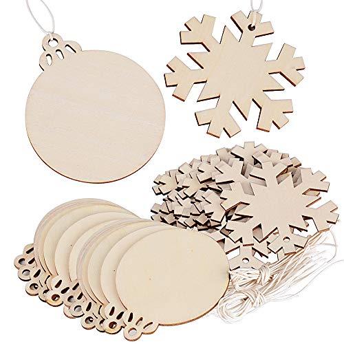 FLOFIA 40pcs Bolas Navidad Madera Copo de Nieve Colgante Navidad Árbol Rebanadas Madera Adorno Decoración del...
