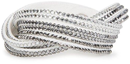 styleBREAKER weiches Strass Armband, eleganter Armschmuck mit Strassteinen, Wickelarmband, 6x1-Reihig, Damen 05040005, Farbe:Weiß/Klar-Grau-Silber