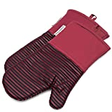 Silicone Oven Mitts 464 F Heat Resistant Potholders Striped Pattern Cooking Gloves Non-Slip Grip for...