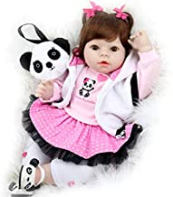 Aori Realistic Reborn Doll 22 Inch Lifelike Handmade Soft Body Toy Weighted Reborn Baby Girl with Panda Gift Set