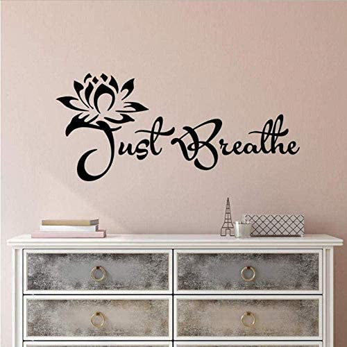 TIANSINIAO Vinyl Wall Sticker Yoga Relaxing Inspiring Just Breathe Yoga Room Home Decoration product image