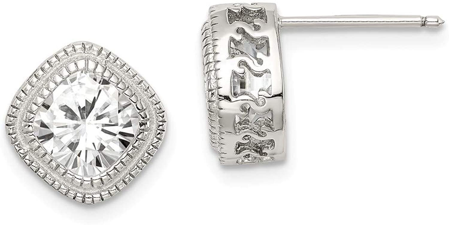 Beautiful Sterling silver 925 sterling Sterling Silver CZ Square S Border Earrings