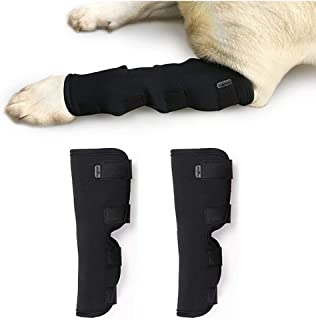 Tineer 2pcs Dog Hock Brace Pet Support Dog Canine Parte Posterior Delantera Hock Joint Wrap Manga para Curar Protege herid...