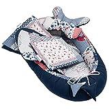 5 pezzi Set per bebè incluso nido per neonati, cuscino per il collo, cuscino piatto, materasso, coperta, per bambini da 0 a 7 mesi (Patchwork Blu)