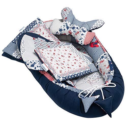 Solvera_Ltd 5tlg. Baby Ausstattung-Set inkl Babynest 90x50 herausnehmbarer Einsatz Flachkissen Krabbledecke Schmeterrling-Kissen für Babys 100% Baumwolle (Patchwork/Blau)