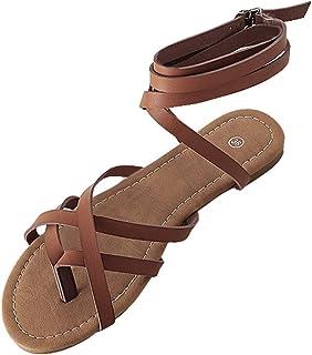 Sandales Femmes Plates Tropeziennes,Yesmile Femmes Flats Respirant Chaussures Open Toe Boucle Sangle Dames Romain Sandales