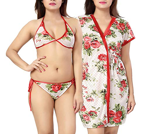 Lovira Floral Women Robe & Lingerie Set / 1 Robe,...