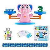 Ulikey Equilibrar Juego de Matemáticas, Juguete Animal Balanza, Juguete Educativo de Equilibrio, Balanza de Equilibrio Números Tarjetas, Juego Regalo Educativo para Niñas (Elefante)
