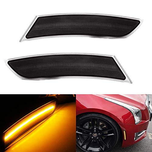 iJDMTOY Smoked Lens Amber Full LED Bumper Side Marker Light Kit Compatible With 2013-2017 Cadillac XTS, Powered by 40-SMD LED, Replace OEM Front Sidemarker Lamps