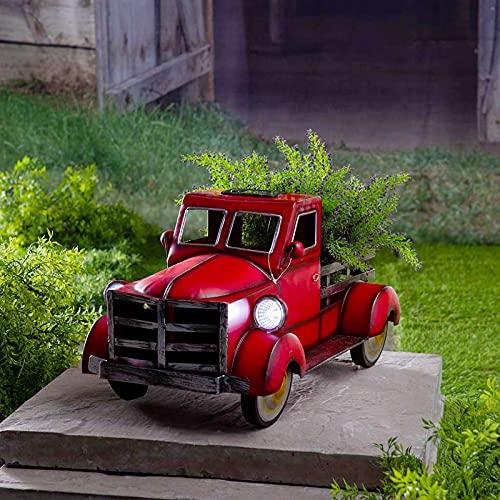 Retro Style Solar Pickup Truck Flower Pot Decoración Jardín Mini Camión Modelo Jardín Adornos con Luces Creative Flowerpot (rojo)
