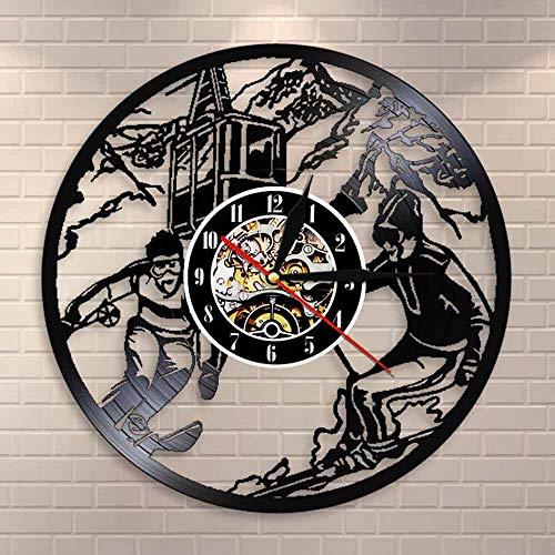 LPHMMD Vinyl wandklok Ice Skiën Vinyl Record Wandklok Snowboarden Wandklok Winter Sport Kamer Decoratieve Skiën Klok Wandkunst Ski Lovers Gift