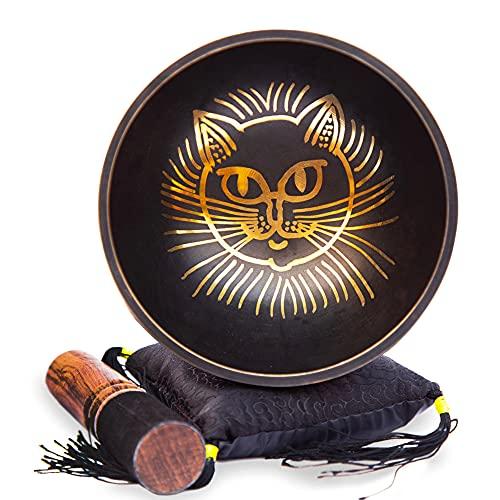 Himalayan Bazaar - Juego de cuencos tibetanos para cantar con temática felina,...
