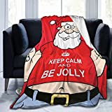 Obo Christmas Funny Beer Santa Claus Xmas Cozy Flannel Fluffy Fleece Throw Microfiber Blanket Couch Bed Soft Warm Plush Cozy Quilt Nursery Bedding Decor Bedroom Decorations