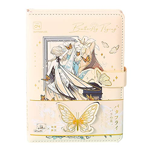 DUESI Diario Anime Copertina Notebook Girly Heart Notebook 32 K 112 fogli in pelle Handmade diario diario con segnalibri