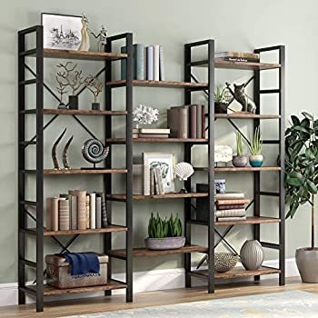 Tribesigns Triple Wide 5-Shelf Bookcase Etagere Large Open Bookshelf Vintage Industrial Style Shelves Wood and Metal bookcases Furniture for Home & Office  Rustic Brown