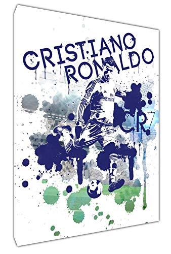 CR7 Ronaldo - Lienzo decorativo con marco de madera, diseño de balón de fútbol, 20'' x 16 inch(50x 40 cm) -38mm depth