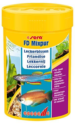 sera FD mixpur 100 ml Fischfutter tierisch ein Leckerbissen-Mischung für das Gesellschaftsbecken, durch ein besonders sehr aufwendiges Herstellungsverfahren frei von Parasiten & Krankheitserregern