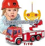 Control remoto Coche de juguete Radio Control Control remoto Coche de rescate Camión de bomberos Camión de bomberos RC Mejor juguete con luces Sirena y escalera extensible para regalo de niños (Color