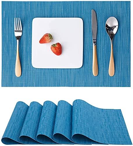 YSNJG Mesa de Mesa Conjunto de 6, colocaciones Mats Mesa Mesa Placemats Lavable Aislamiento de Calor Antideslizante Lavado Vinilo para la Cocina Restaurante de Comedor 18'x12 (Azul)