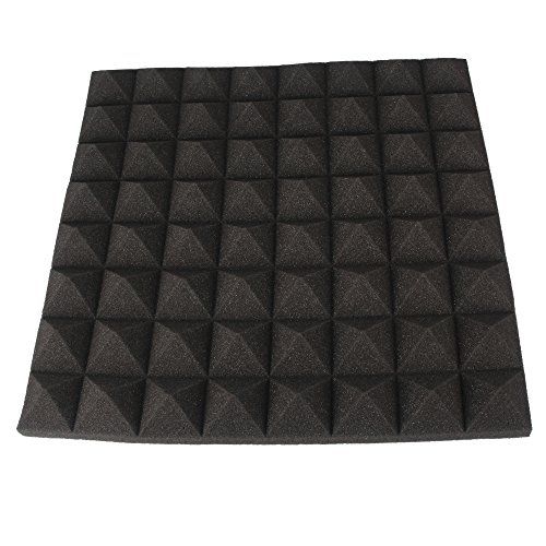 Acoustics Studio-Dämmplatten , Akustik Dämmung , Pyramiden Schaumstoff , Schalldämmung , Tonstudio , ca. 50cm x 50cm x 5 cm-schwarz