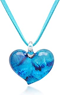 Hand Blown Venetian Murano Glass Heart Shaped Pendant Necklace, 18-20 inches