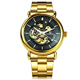 Forsining Openwork Clock Luminous Hands Design Gold Stainless Steel Men's Automatic Watches S1030-2