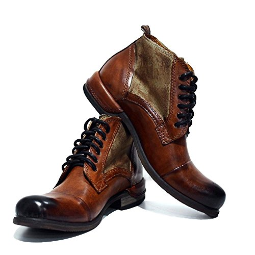 PeppeShoes Modello Oreto - EU 43 - US 10 - UK 9-28 cm - Handgemachtes Italienisch Bunte Herrenschuhe Lederschuhe Herren Braun Stiefel Stiefeletten - Rindsleder Handgemalte Leder - Schnüren