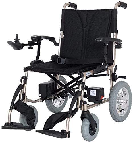 WXDP Potencia autopropulsada ligera eléctrica, plegable y adecuada para personas mayores con discapacidad, ancho de asiento 43 cm, palanca de mando 360 °, peso 100 kg, du