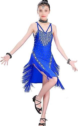 Asdflina Robe de Danse Latine avec Franges et Glands pour Fille Vêtements de Danse pour Occasions spéciales (Couleur   Bleu, Taille   120cm)