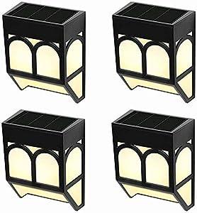 Luces Solares para Exteriores Jardín, LED Lámpara Luz Solar Impermeables para Valla Porche Garaje del Jardín Camino Decoración Navideña [2 Modos ] Luz Blanca/Cambio de Color (Paquete de 4)