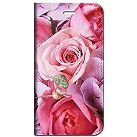 iPhoneSE(第2世代 4.7インチ) 専用 手帳型ケース 花バラ-ピンク 柄