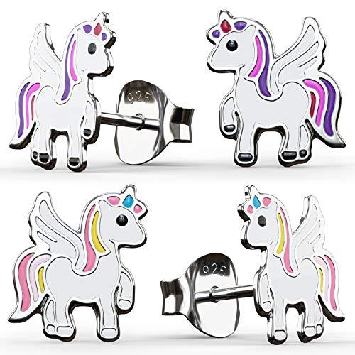 2 pares de pendientes de unicornio de plata de ley 925 para...