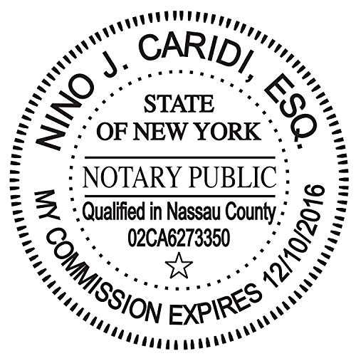 Round Notary Stamp for State of New York- Self Inking Stamp - Top Brand Unit with Bottom Locking Cover for Longer Lasting Stamp - 5 Year Warranty