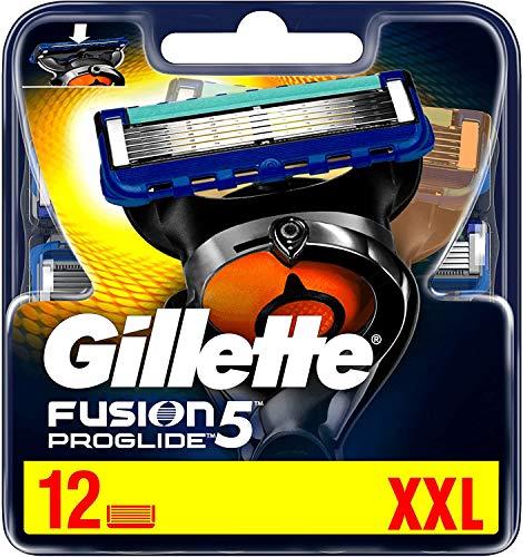 Gillette Fusion 5 ProGlide Rasierklingen mit Trimmer für Präzision und Gleitbeschichtung, 12 Ersatzklingen