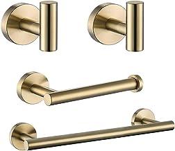 XYZMDJ Geborsteld Goud Badkamer Accessoires Sets Handdoek Rail Rack Houder Toilet Tissue Papier Houder Jas Gewaad Haak Rvs...