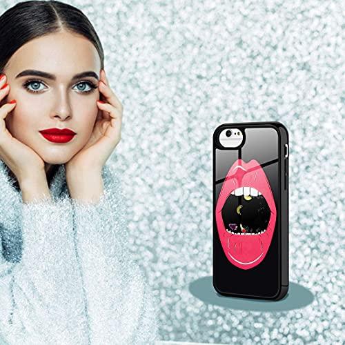 SanLead Flytande iPhone fodral iPhone skal tillverkat av TPU och PC reptålig och stöttålig support trådlös laddning med skärmskydd för iPhone [läpp], for New iPhone SE, iPhone 6/6s/7/8, Svart